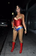 ABIGAIL RATCHFORD as Wonder Woman Arrives at Avenue's Carnal Carnival Event for Halloween in Hollywood 10/28/2017