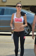 ALESSANDRA AMBROSIO Leaves Tracy Anderson Gym in Santa Monica 10/24/2017