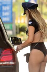 ANA BRAGA in a Police Costume at a Gas Station in Studio City 10/18/2017