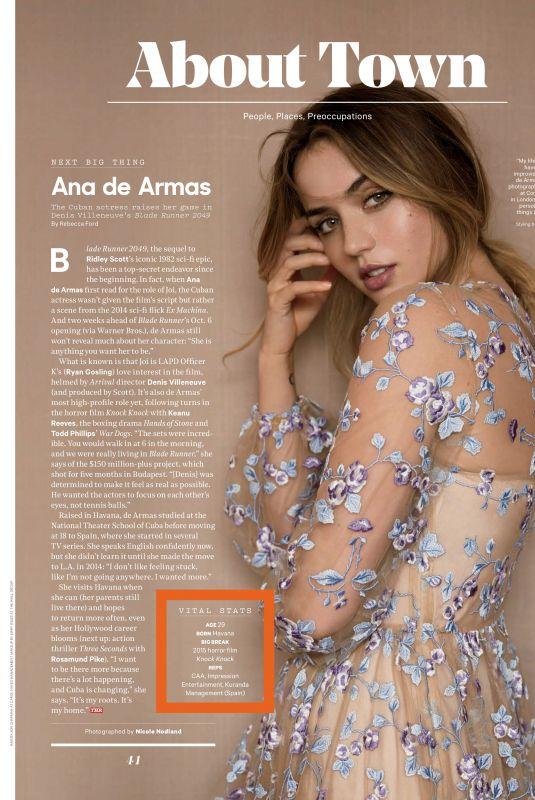 ANA DE ARMAS in The Hollywood Reporter, October 2017