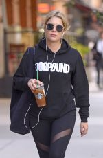 ASHLEY BENSON Leaves Starbucks in New York 10/20/2017