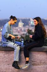 BELLA HADID Out and About with a Friend in Rome 10/29/2017