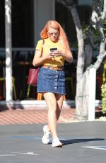 BUSY PHILIPPS in Denim Skirt Out for Lunch in Los Angeles 10/23/2017