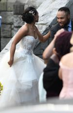 CANDICE PATTON in Wedding Gown Filming Arrowverse Crossover in Vancouver 10/11/2017