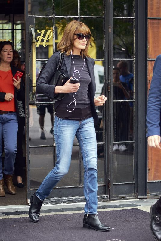 CARLA BRUNI Leaves Her Hotel in New York 10/11/2017