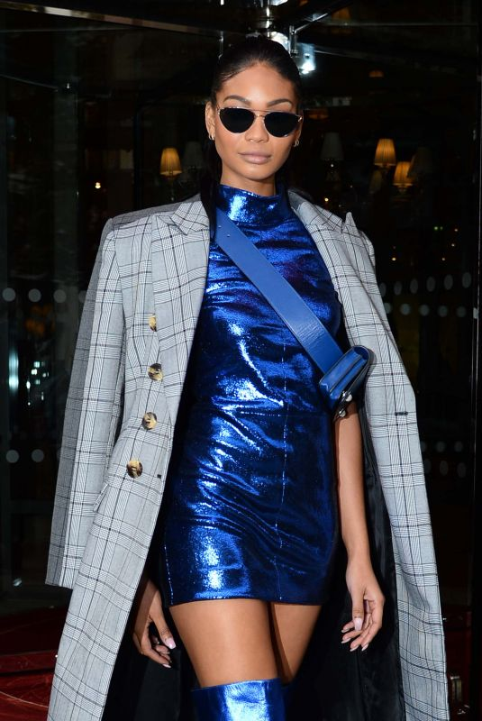 CHANEL IMAN Leaves Her Hotel in Paris 10/02/2017
