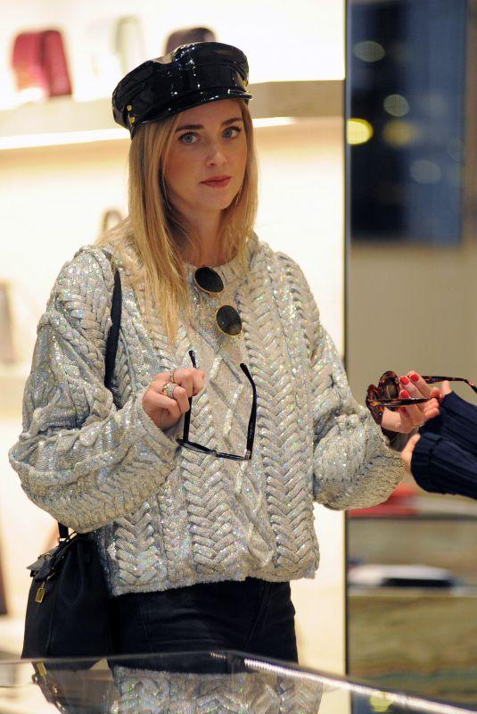 CHIARA FERRAGNI Out Shopping in Milan 10/21/2017