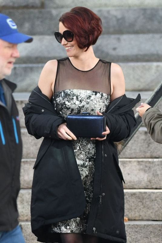 CHYLER LEIGH on the Set of Arrowverse Crossover Episodes in Vancouver 10/11/2017