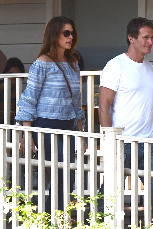 CINDY CRAWFORD and Rande Gerber at Minotti Furniture in West Hollywood 10/12/2017