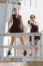 CINDY CRAWFORD on the Set of a Photoshoot in Santa Monica 10/26/2017