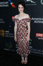 CLAIRE FOY at Bafta Los Angeles Britannia Awards in Los Angeles 10/27/2017