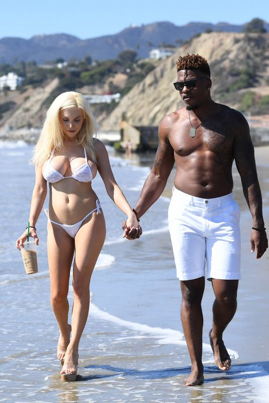 COURTNEY STODDEN in Bikini and Shondo Blades on the Beach in Malibu 10/17/2017