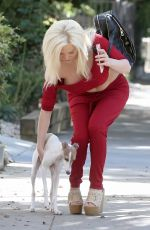 COURTNEY STODDEN Out with Her Dog in West Hollywood 10/23/2017