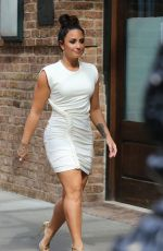 DEMI LOVATO in Tight Dress Out in New York 10/05/2017