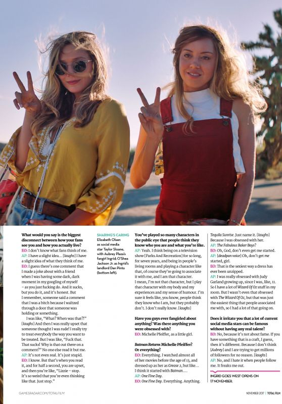 ELIZABETH OLSEN and AUBREY PLAZA in Total Film Magazine, November 2017