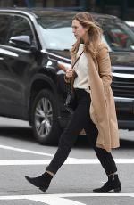 ELIZABETH OLSEN in Beige Coat Out in New York 10/16/2017