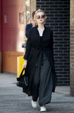 ELLE FANNING All in Black Out in New York 10/02/2017