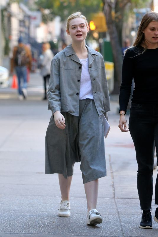 ELLE FANNING Arrives on Set of Woody Allen New Movie in New York 10/19/2017
