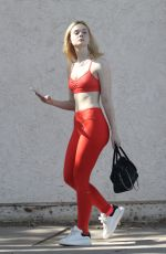 ELLE FANNING in Tights at a Gym in Studio City 10/28/2017