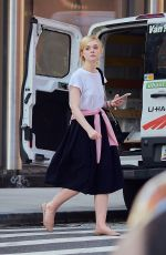 ELLE FANNING on the Set of Untitled Woody Allen Project 10/10/2017