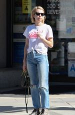 EMMA ROBERTS in Ripped Jeans Out in Los Angeles 01/17/2017