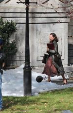 FELICITY JONES on the Set of On the Basis of Sex in Montreal 10/22/2017