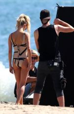 HAILEY BALDWIN in Swimsuit on the Set of a Photoshoot at Long Beach 10/13/2017