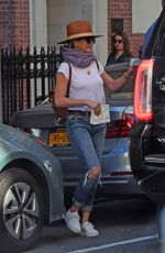 JENNIFER ANISTON in Ripped Jeans Out in New York 10/02/2017