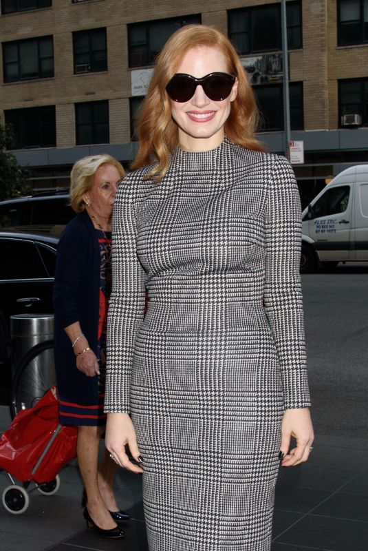 JESSICA CHASTAIN Arrives at Power to Shake it up Panel in New York 10/28/2017
