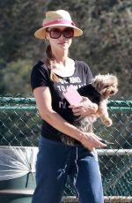 JOANNA KRUPA Out with Her Dogs at a Park in Los Angeles 10/08/2017