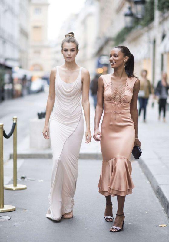 JOSEPHINE SKRIVER and JASMINE TOOKES Arrives at Harper's Bazaar 150th Anniversary at Paris Fashion Week 09/29/2017
