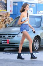 KAIA GERBER in Denim Shorts at a Gas Station in Malibu 10/14/2017