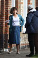 KATE BECKINSALE Filming a Scene for Farming in London 10/12/2017