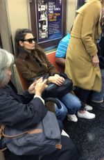 KATIE HOLMES Rides a R Train in New York 10/13/2017