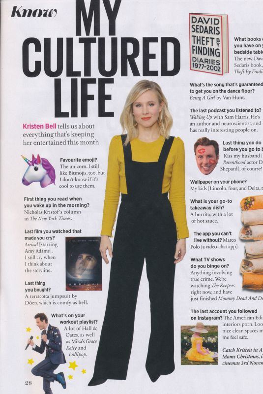 KRISTEN BELL in Cosmopolitan Magazine, UK December 2017