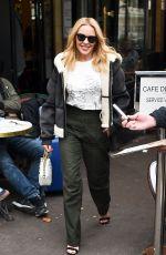 KYLIE MINOGUE at Cafe De Flore in Paris 10/02/2017
