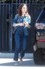 LILY COLLINS Arrives at a Studio in Studio City 10/05/2017