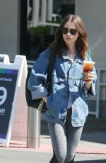 LILY COLLINS Out for Coffee and Grocery in Bbeverly Hills 10/08/2017