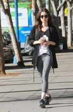 LILY COLLINS Out for Iced Coffee in West Hollywood 10/05/2017