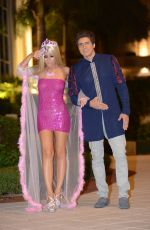LISA OPIE and Her Boyfriend in a Barbie and Ken Costume Out in Los Angeles 10/25/2017