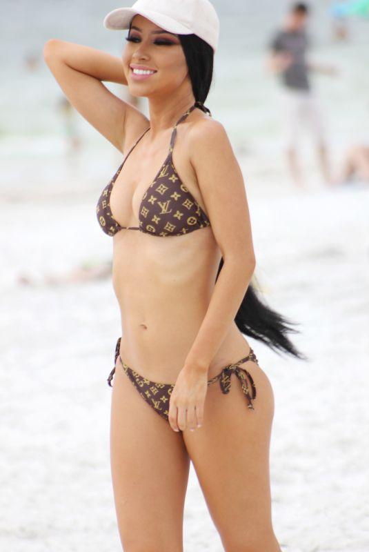 LISA OPIE in Bikini at a Beach in Miami 10/10/2017