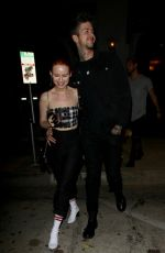MADELAINE PETSCH and Travis Mills Night Out in Los Angeles 10/16/2017