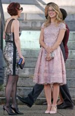 MELISSA BENOIST, CHYLER LEIGH and CAITY LOTZ on the Set of Supergirl in Vancouver 10/11/2017