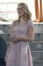 MELISSA BENOIST on the Set of Supergirl in Vancouver 10/11/2017