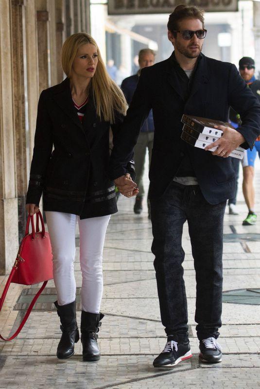 MICHELLE HUNZIKER and Tomaso Trussardi Out in Bergamo 10/21/2017