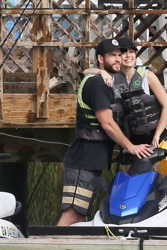 MILEY CYRUS and Liam Hemsworth at Tybee Island in Georgia 10/30/2017