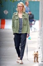 NAOMI WATTS Out with Her Dog in New York 10/03/2017