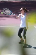 NATALIE PORTMAN Playing Tennis with Friends in Los Angeles 10/18/2017