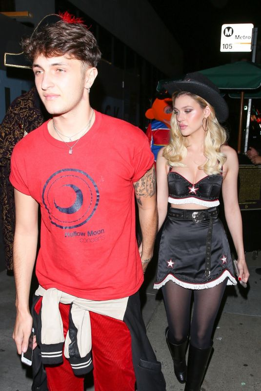 NICOLA PELTZ at Matthew Morrison Halloween Party at Poppy Night Club in Hollywood 10/28/2017