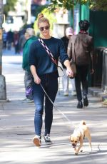 NINA AGDAL Out with Her Dog in New York 10/18/2017